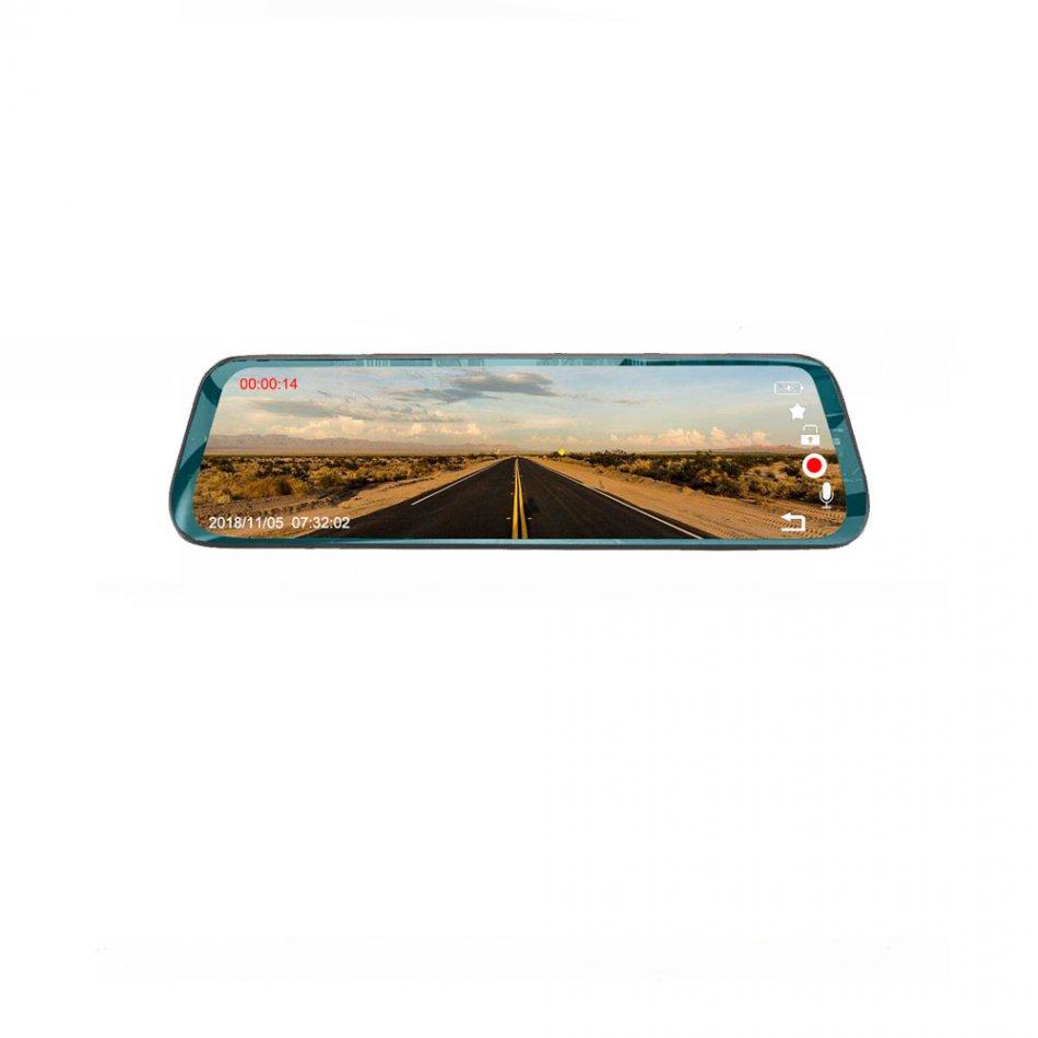 Camera auto dubla oglinda DVR Loosafe™ RoadTeam H19, 10 inch touch, camera marsarier, Full HD 30fps, night vision, unghi de filmare 170 grade, senzor G, detectare miscare, lentile Sony, negru