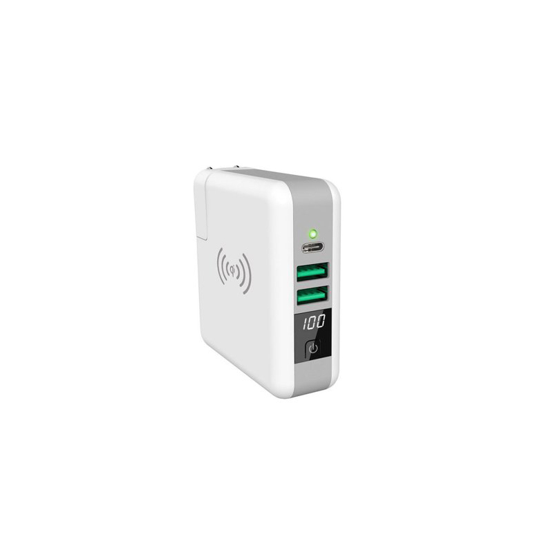 Baterie externa multifunctionala, incarcator USB Loowoko™ LWC-WP6, incarcare direct priza, incarcare wireless 10W, usb type C, 6700 mAhh, adaptoare internationale, alb