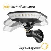 Lampa solara 360 de grade Huerler™ HS-011 30 LED-uri, 800 lumeni, panou solar polisiliciu, rezistena la apa, senzor de miscare si lumina, unghi luminare 360 grade, 3 moduri iluminare, 2200mAh, negru