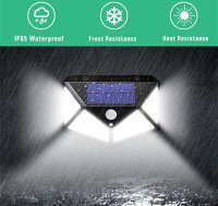 Lampa solara tripla Huerler™ 100 LED-uri HS-008, 1000 lumeni, panou solar polisiliciu, rezistena la apa, senzor de miscare si lumina, unghi luminare 270 grade, 2200mAh, negru