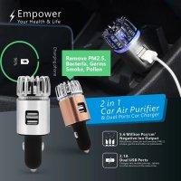 Purificator aer auto, KD Home™ JO-6291, ioni negativi/ozon, 2 x priza USB, elimina mirosuri, fum, bacterii, argintiu