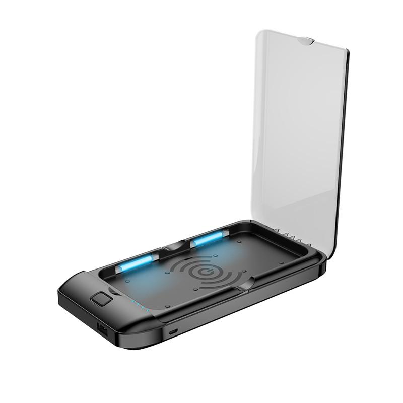 Sterilizator telefon mobil KD Home™ LPW, portabil, 6.5 inch, incarcare wirless telefon, elimina bacterii, virusuri, negru