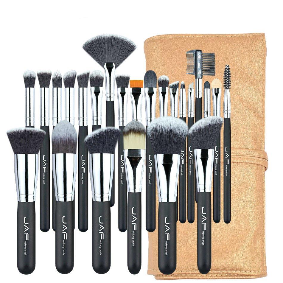 Set 24 pensule machiaj JAF®, maner din lemn, par natural, ochi, obraji, buze, suport depozitare, negru