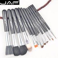 Set 12 pensule machiaj JAF®, maner din lemn, par natural, ochi, obraji, buze, cu suport depozitare, negru