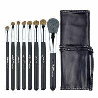 Set 8 pensule machiaj JAF®, maner din lemn, par natural, ochi, obraji, buze, suport depozitare, negru
