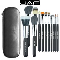 Set 12 pensule machiaj JAF®, maner din lemn, par natural, ochi, obraji, buze, cu suport cu fermoar, negru