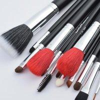 Set 18 pensule machiaj JAF®, maner din lemn, par natural, ochi, obraji, buze, negru