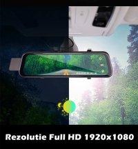 Camera auto dubla oglinda DVR Loosafe™ RoadTeam H12 WiFi, chipset Sony, 10 inch touch, camera marsarier, Full HD 30fps, night vision, unghi de filmare 170 grade, senzor G, detectare miscare, lentile Sony, negru