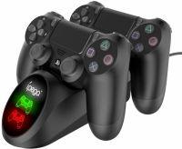 Stand de incarcare Ipega PG-9185 RoPro, 2 x controler PlayStation 4, protectie supra incarcare, incarcare multipla, negru