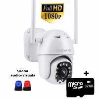 Camera de supraveghere WIFI Loosafe™ F06, de exterior, 4X zoom, rezistenta la apa, 2MP 1080p, sirena luminoasa rosu/albastru, senzor miscare, activare lumina, Alb