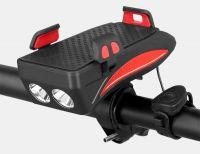 Far bicicleta cu suport telefon Huerler® 7496, cu claxon, 2 x T6 LED, 400 lumeni, acumulator 2000mAh, incarcare USB, rezistent la apa, 3 moduri de luminare, negru