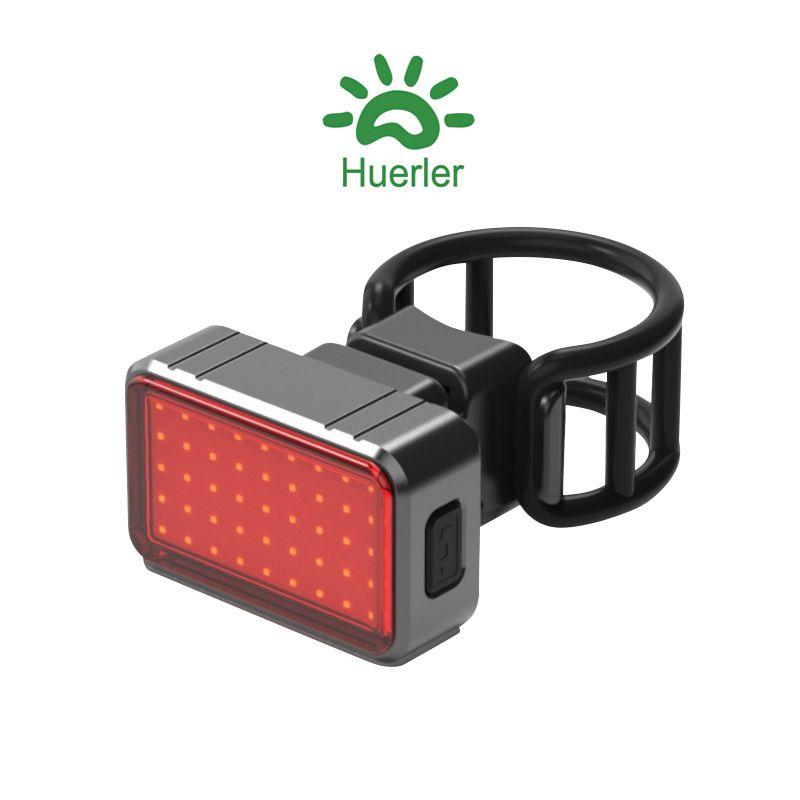 Stop bicicleta inteligent, Huerler® BK820, COB LED, rezistent la apa, activare automata la frana, 6 moduri luminare, aluminiu, 300mAh, incarcare USB, negru