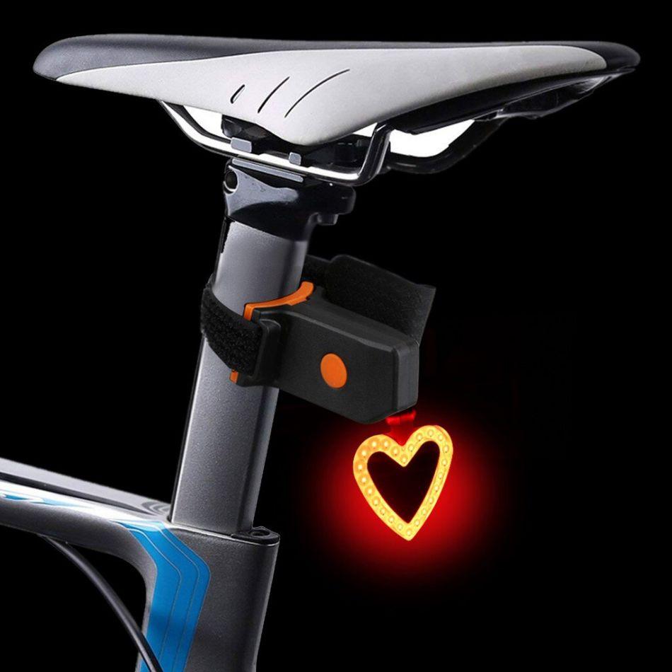 Stop bicicleta, Huerler® 3036, LED COB, forma inimioara, rezistent la apa, moduri luminare, 250mAh, incarcare USB, negru