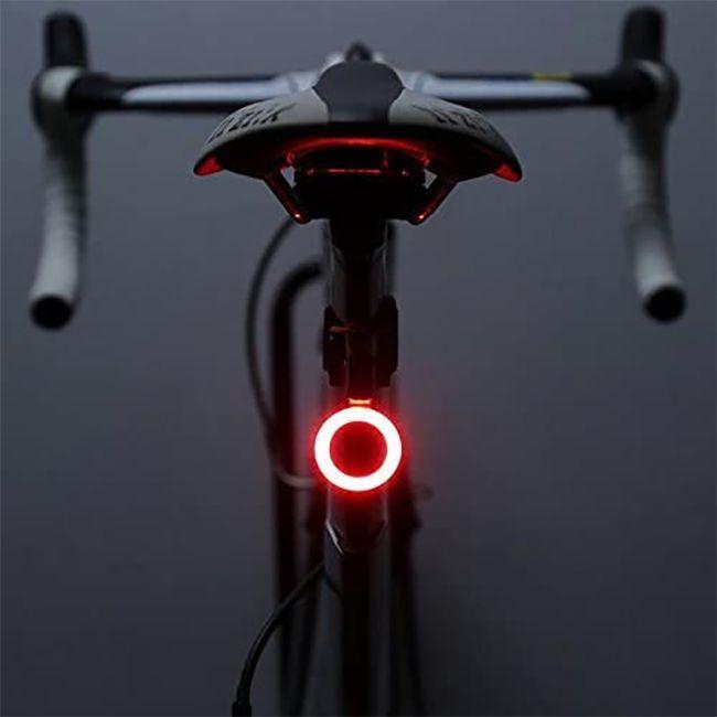 Stop bicicleta, Huerler® 3036, LED COB, forma cerc, rezistent la apa, moduri luminare, 250mAh, incarcare USB, negru