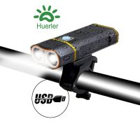 Far bicicleta cu suport telefon Huerler® Y1, 2 x Cree XM-L T6 LED, 2000 lumeni, aluminiu, acumulator 5200mAh, incarcare USB, rezistent la apa, 3 moduri de luminare, negru