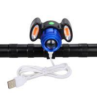 Far bicicleta cu suport telefon Huerler® RL03, Cree XM-L T6 LED + 2COB Red, 2000 lumeni, metalic, acumulator 800mAh, incarcare USB, rezistent la apa, 3 moduri de luminare, negru