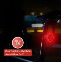 Stop bicicleta inteligent, Huerler® T09, SMD LED, rezistent la apa, activare automata la frana, rotund, 6 moduri luminare, aluminiu, 300mAh, incarcare USB, negru