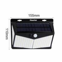Lampa solara tripla Huerler™ 208 LED-uri HS-011 208, IP65, 1100 lumeni, panou solar polisiliciu, rezistena la apa, senzor de miscare si lumina, unghi luminare 270 grade, 1500mAh, negru