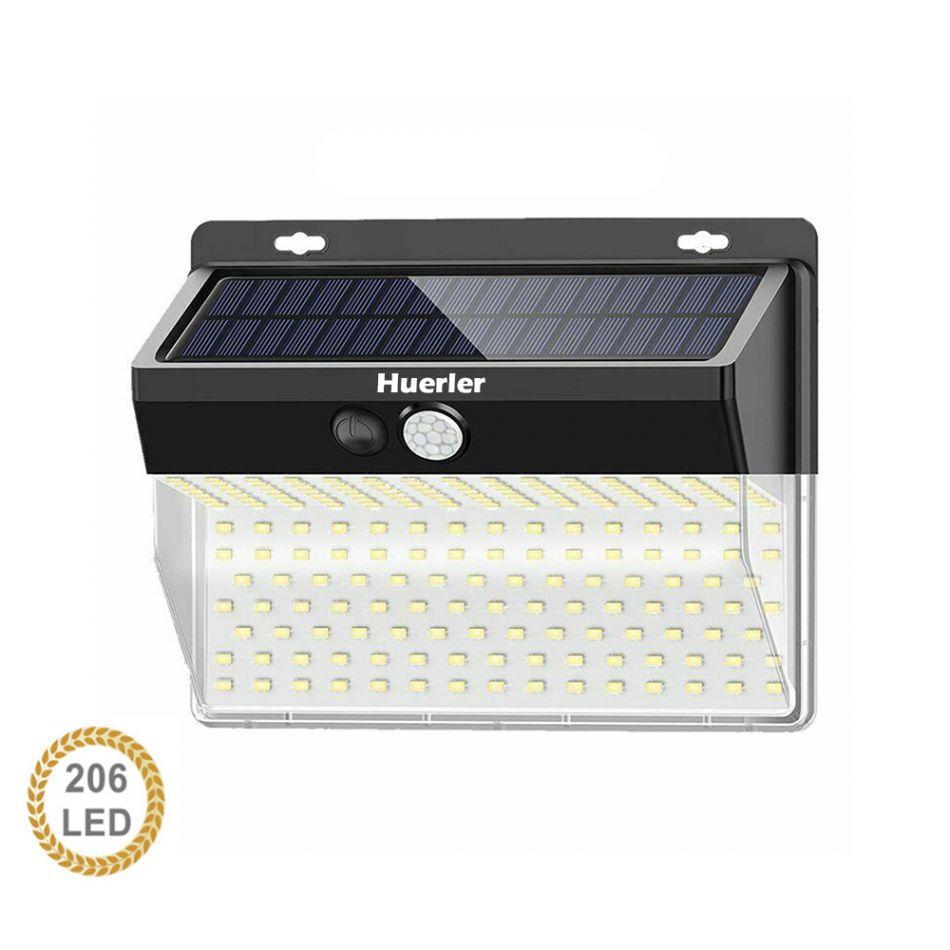 Lampa solara tripla Huerler™ 206 LED-uri HS-011 206, IP65, 1050 lumeni, panou solar polisiliciu, rezistena la apa, senzor de miscare si lumina, unghi luminare 270 grade, 1500mAh, negru