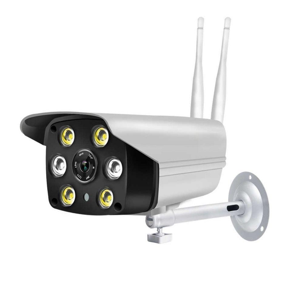 Camera video de supraveghere wireless Loosafe C6-5, 5 Megapixel, Full HD, comunicare bidirectionala, vedere noptea color, 6 leduri, detectie miscare, de perete, gradina, curte, alb