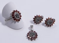 Set Argint 925, Model in forma de floare cu zirconii caramizii si marcasite